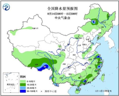 南方地区降雨明显减弱 云南鲁甸震区无明显降水