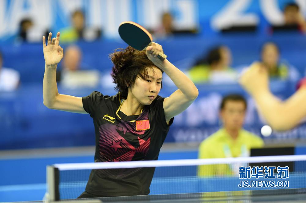 8月19日,,2014南京青奥乒乓球马术单打半决赛在五台山体育馆举行女子张国强图片