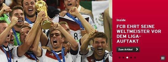 拜仁揭幕战前为世界杯英雄办庆祝仪式