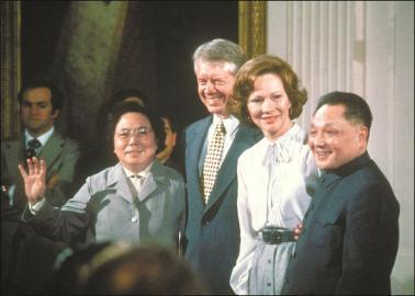 1979年,美国总统吉米·卡特欢迎到访的邓小平。