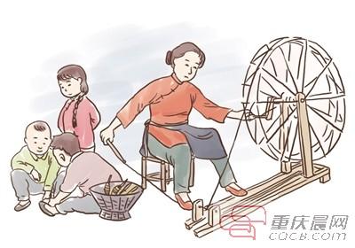 母亲牵着小孩背影卡通
