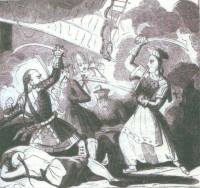 战斗中的郑一嫂。