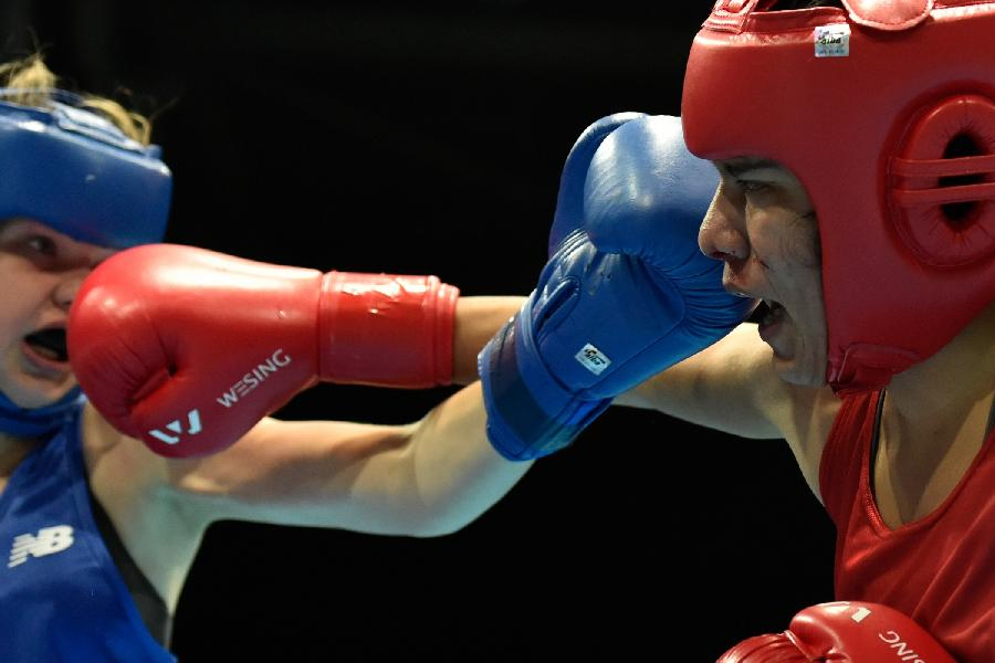 青奥会拳击――女子57 60公斤级:美国选手