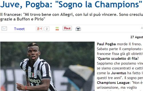 21岁的博格巴渴望赢得欧冠