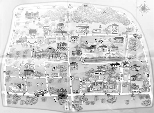 此外,黄鹤楼大景区手绘地图还囊括了红楼,辛亥革命博物馆,户部巷,起义