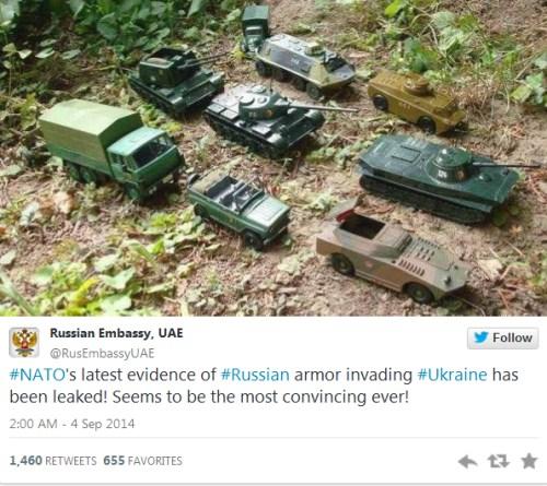 """图为俄罗斯驻阿联酋使馆官方账户的调侃""""推文""""。"""