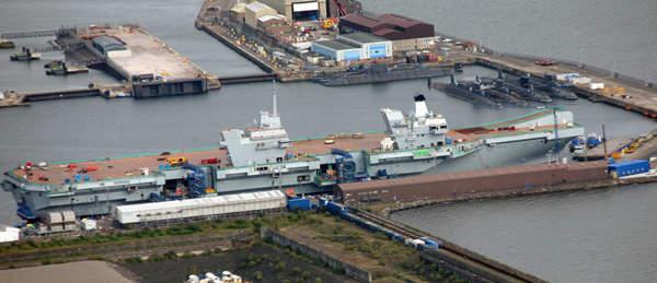 资料图:英国建造的下一代伊丽莎白女王级航母首舰伊丽莎白女王号子