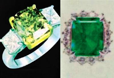 孟建国在马来西亚先后盗窃的闪电钻戒(左)及绿宝石戒指(右)。