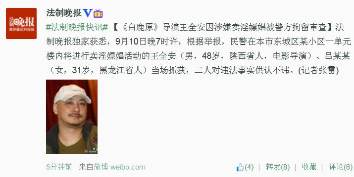《白鹿原》导演王全安因涉卖淫嫖娼被警方拘留审查