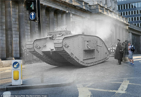 穿越照 一战老照片与英国街道完美结合