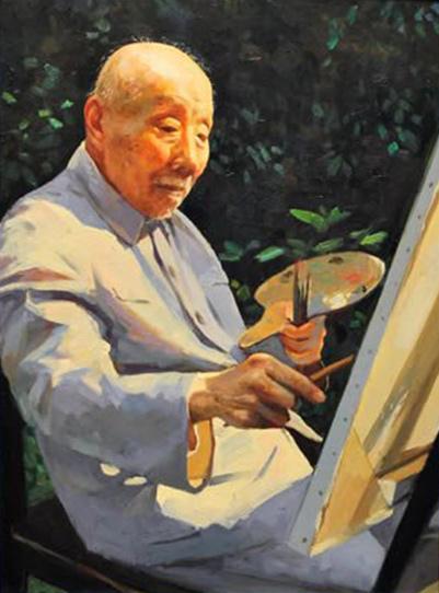 李醉油画《颜文�拧� 中国现代美术教育事业的重要奠基人 颜文�� (1893-1988)
