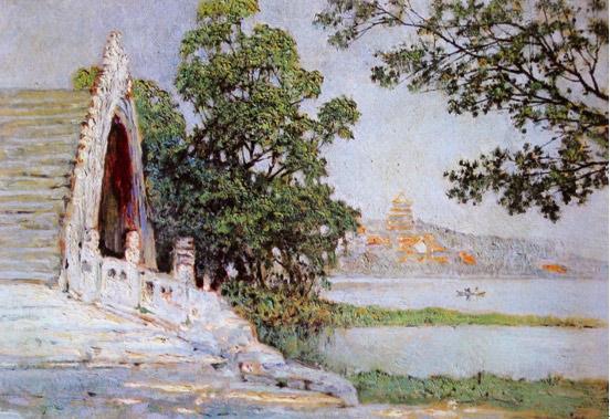 颜文�拧侗本┯翊�桥》油画1953年