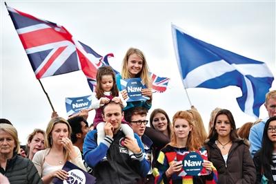 14日,苏格兰爱丁堡,民众集会反对独立公投。最新民意调查结果显示,反独阵营的支持率继续领先。