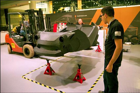 原文配图:世界首辆3D打印电动车。