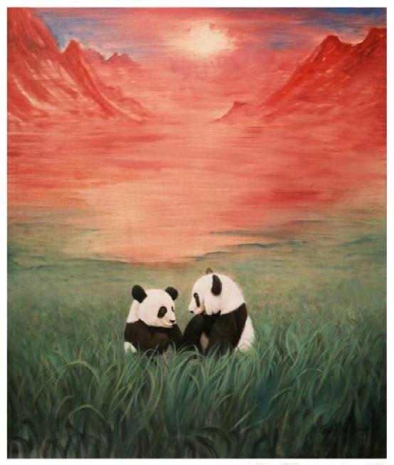 《初升的太阳》的大熊猫主题油画赠送给创意周组委会,并表示愿意将