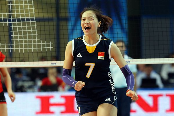 图文:[世锦赛]女排3-0比利时 魏秋月激情