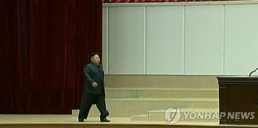 朝鲜8日在平壤体育馆举行了已故朝鲜国家领导人金日成逝世20周年中央追悼大会。在朝鲜中央电视台的直播镜头中,朝鲜国防委员会第一委员长金正恩走向主席台时走路有些瘸腿,引人瞩目。