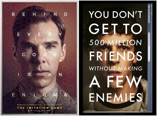 """从""""字压脸""""的海报设计理念酷似大卫-芬奇的《社交网络》"""