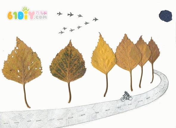 有趣的落叶贴画