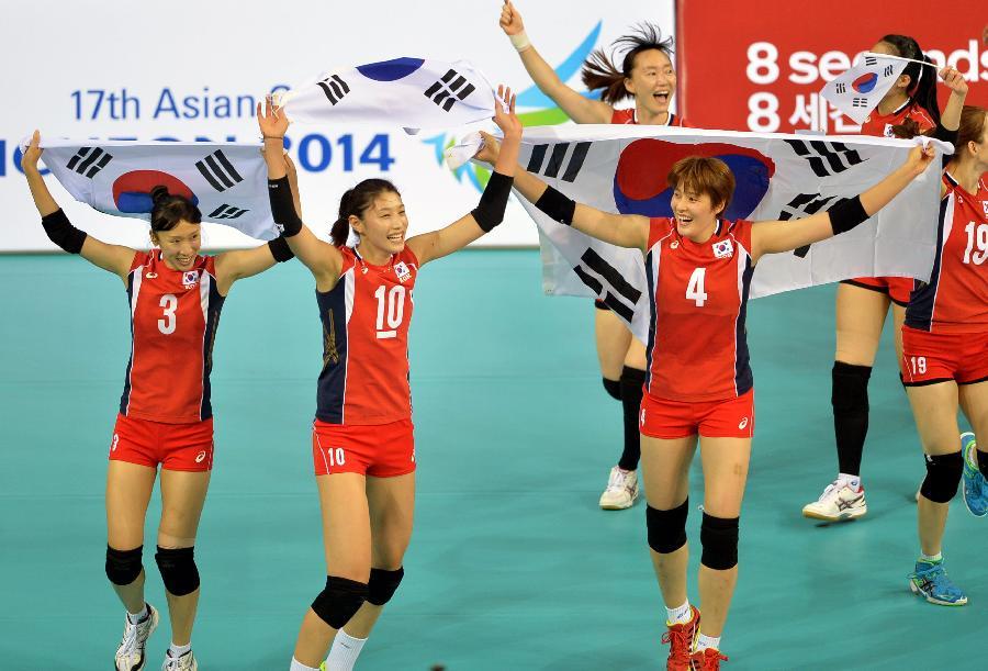 在2014亚运会排球女子决赛中