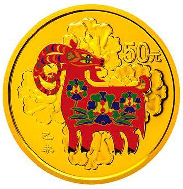 3.110克(1/10盎司)圆形精制金质彩色纪念币背面图案