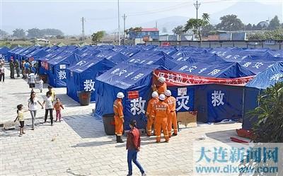 10月9日拍摄的永平镇最大的临时安置点,这里已经安置了约300人入住。