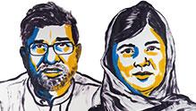 2014年诺贝尔和平奖获得者:印度儿童人权活动家萨蒂亚尔希左及巴基斯坦女孩马拉拉右