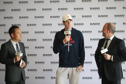 RADO瑞士雷达表中国区副总裁万志飞(左),瑞士雷达表全球品牌代言人安迪•穆雷(中),瑞士雷达表全球市场传讯副总裁Andrea Caputo(右)