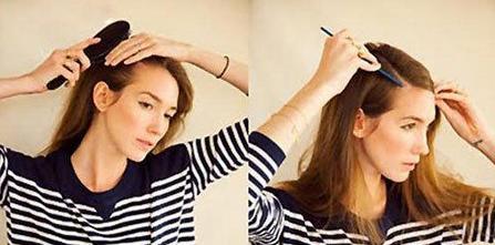 2.然后用梳子将头顶头发划出分界线.图片