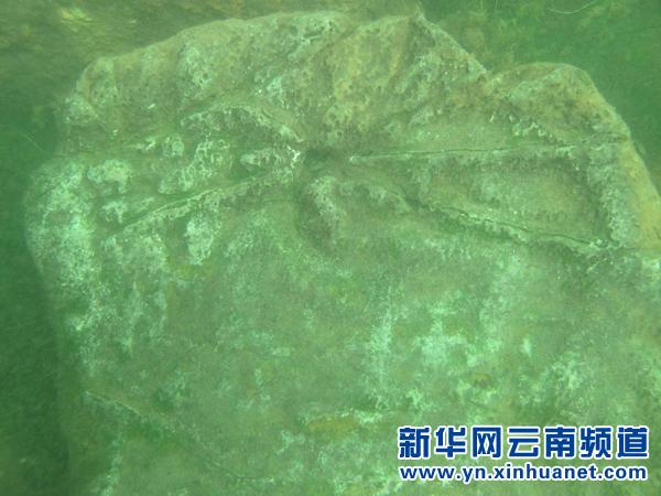 抚仙湖水下的墙壁局部