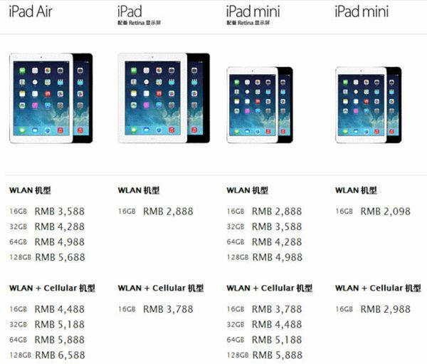 几款iPad旧机型原价