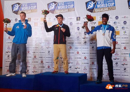 10月19日攀岩世界杯吴江站,中国攀岩国家队队长、红牛赞助运动员击败新科世锦赛冠军夺得冠军