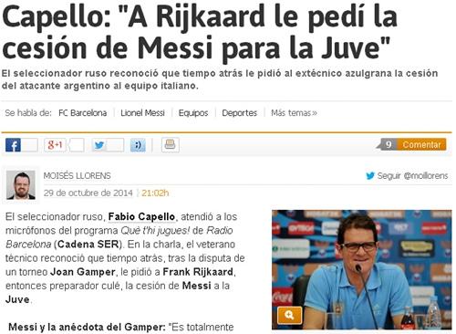 卡佩罗差点帮尤文签下梅西