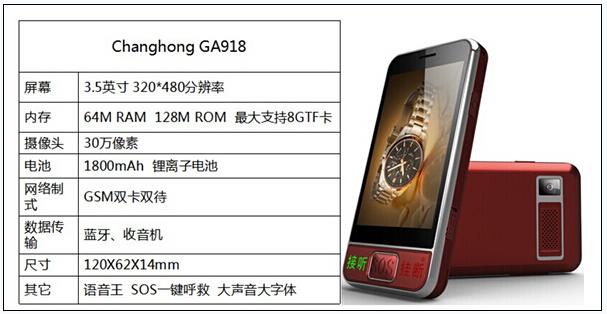 关爱老人出行安全 长虹ga918老人手机报价368元(组图)