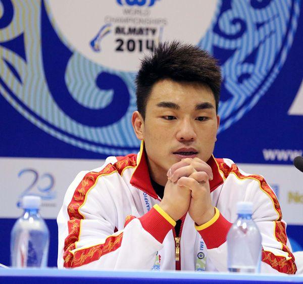 图文:举重世锦赛男69KG级 廖辉在新闻发布会上