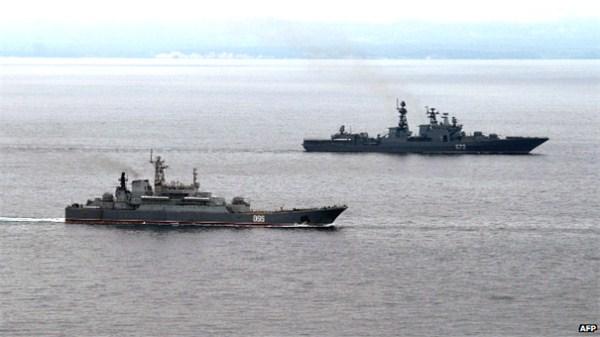 俄海军编队逼近澳大利亚。