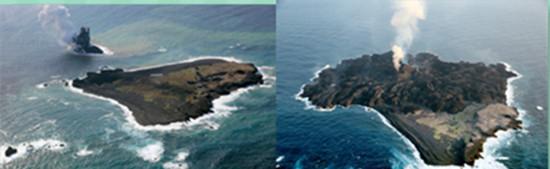 左边为2013年11月西之岛附近海域火山喷发形成新岛图片,右边为该岛2014年4月份图片。