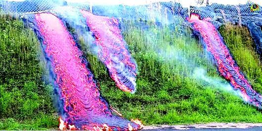 湖北日报讯 据英国《每日邮报》14日刊发的图片显示,在夏威夷一座火山喷发后,三股熔岩沿着草坡流下,途经一处金属栅栏后融为一体,形成奇特的景象。 (人民网)