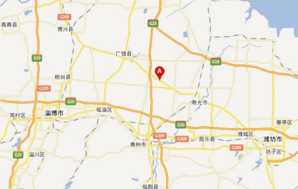 寿光市龙源食品有限公司位于该市化龙镇裴岭村。图中A点处为化龙镇。