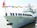 """中国海军新型护卫舰首舰""""三门峡""""舰入列"""