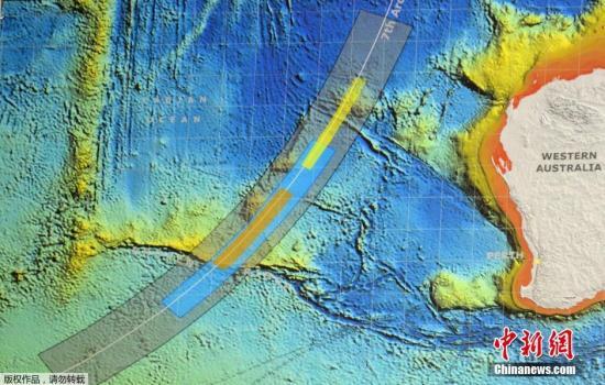 澳大利亚联合调查中心公布MH370新搜寻区,橙色区域是优先级最高的搜寻区,蓝色区次之。