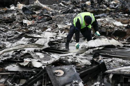 工作人员正在收集马航MH17的残骸路透社
