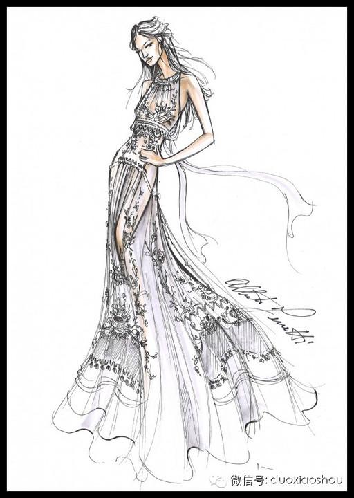简单嫁衣手绘图片
