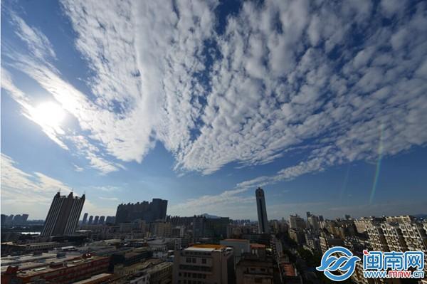 泉州市区,雨后撒野的蓝天白云