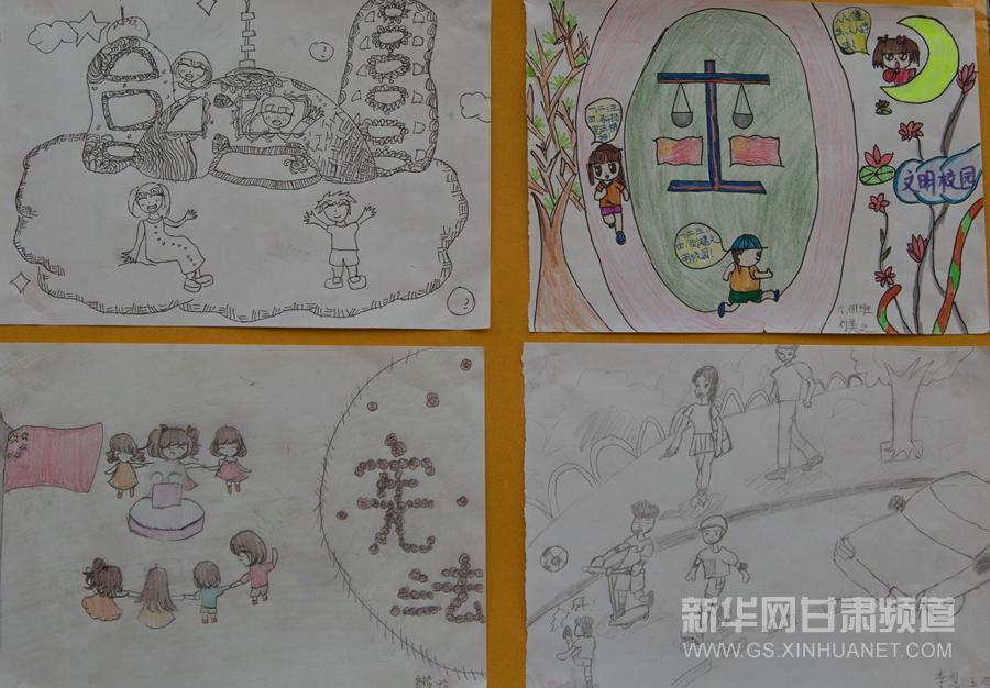 12月4日,甘肃兰州实验小学的学生宪法日主题的绘画作品.图片
