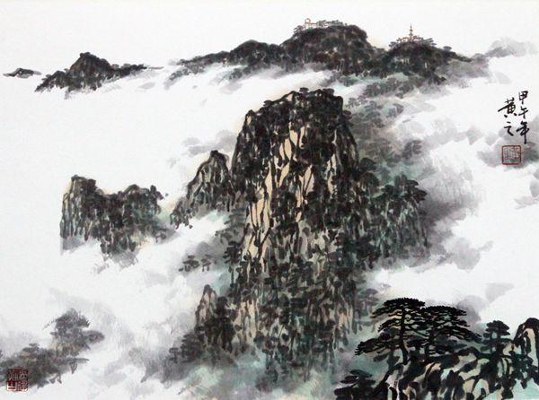中国当代山水画家名单山水画家盛怀杰在台北举办公益书画展(组图