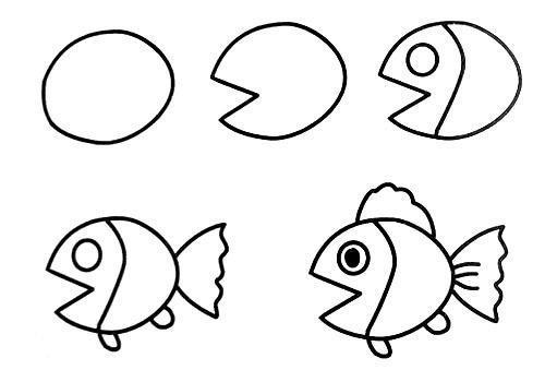 莲莲有鱼简笔画