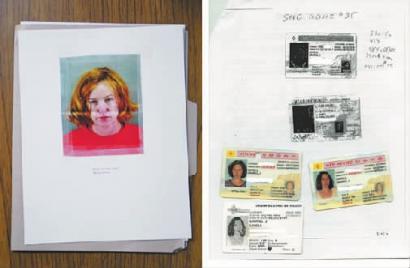 女小偷的资料(左),以及女摄影师被盗的各种证件