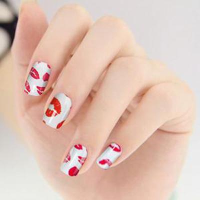 指甲手绘花朵图片