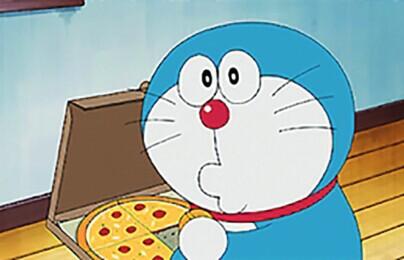 美版动漫中,哆啦a梦爱吃披萨.图片
